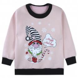Утепленная кофта для девочки, толстовка, розовый. Гномик и конфетка.