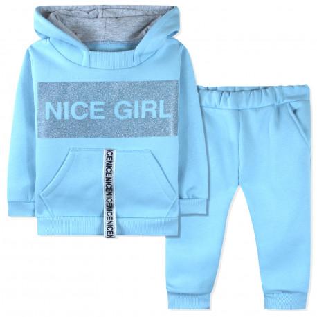 Утепленный костюм 2 в 1 для девочки, голубой. Nice Girl.