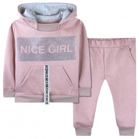 Утепленный костюм 2 в 1 для девочки, пудрый. Nice Girl.