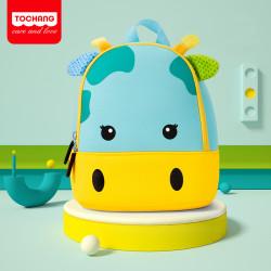 Детский рюкзак, голубой. Малютка жираф.