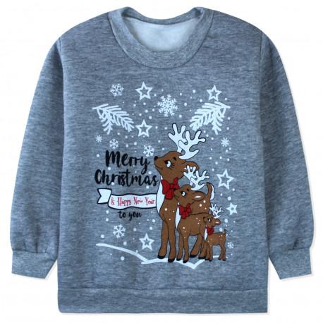 Утепленная кофта детская, толстовка, серая. Рождественские олени.