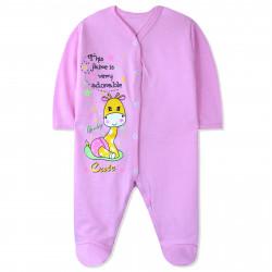Человечек с начесом детский, комбинезон, розовый. Маленький жирафик.