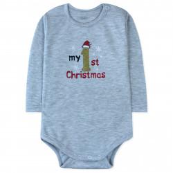 Боди детский, серый. Мое первое Рождество.