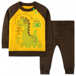 Утепленный костюм 2 в 1 для мальчика, коричневый. Дино и кактусы.