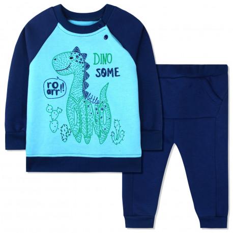 Утепленный костюм 2 в 1 для мальчика, синий. Дино и кактусы.