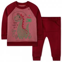 Утепленный костюм 2 в 1 для мальчика, бордовый. Дино и кактусы.