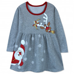 Платье для девочки, серое. Дед Мороз и олень.