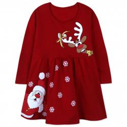 Платье для девочки, красное. Дед Мороз и олень.
