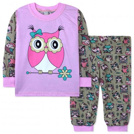 Пижама для девочки, розовая. Розовая сова.