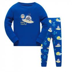 Пижама для мальчика, синяя. Робот в НЛО.
