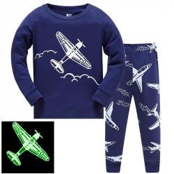 Пижама для мальчика, синяя. Самолет - биплан.