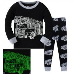 Пижама для мальчика, черная. Пожарная машина.