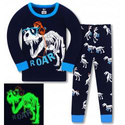 Пижама для мальчика, темно-синяя. Скелет динозавра.