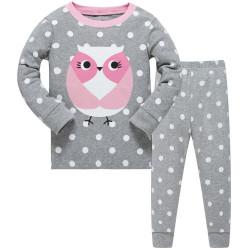 Пижама для девочки, серая. Милая совушка.