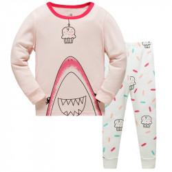 Пижама для девочки, розовая. Акула и пирожное.