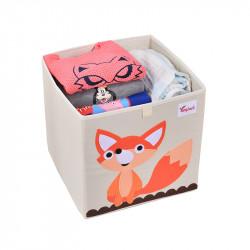 Складной ящик для игрушек, белый. Лисичка.