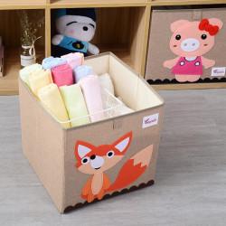 Складной ящик для игрушек, бежевый. Лисичка.