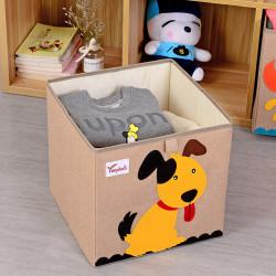 Складной ящик для игрушек, бежевый. Пёс.