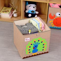Складной ящик для игрушек, бежевый. Павлин.