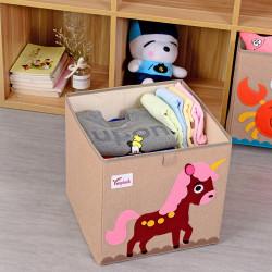 Складной ящик для игрушек, бежевый. Единорог.