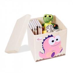 Складной ящик для игрушек со съемной крышкой. Розовый Дино.