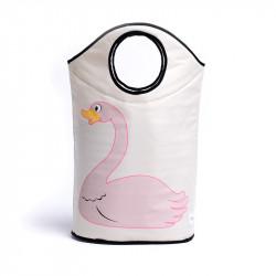 Корзина для игрушек, белая. Розовый лебедь.