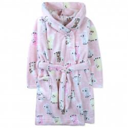 Халат махровый, розовый. Милые жирафики.