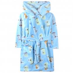Халат махровый, голубой. Милые жирафики.
