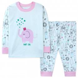 Пижама для девочки, белая. Розовый слоник.