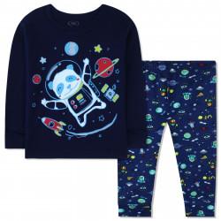 Пижама для мальчика, темно-синяя. Панда - космонавт.