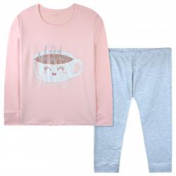 Пижама для девочки, персиковая. Милая чашечка.
