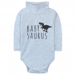 Боди детский под горло, серый. Бейбизаур.