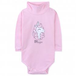 Боди детский под горло, розовый. Магический единорог.