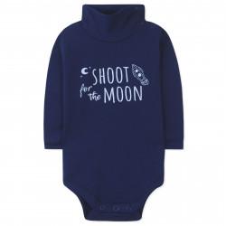 Боди детский под горло, темно-синий. Стрелять в луну.