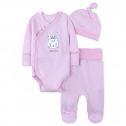 Комплект 3 в 1 для новорожденной девочки, розовый. Зайчик-принцесса.