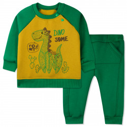Утепленный костюм 2 в 1 для мальчика, зеленый с желтым. Дино и кактусы.