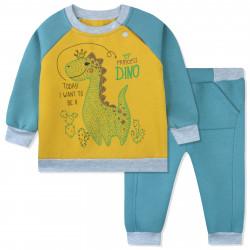 Утепленный костюм 2 в 1 детский, мятный. Дино и кактусы.