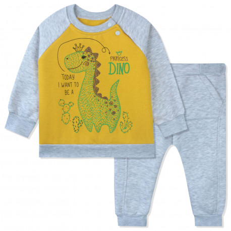 Утепленный костюм 2 в 1 детский, серый. Дино и кактусы.