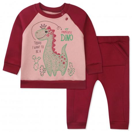 Утепленный костюм 2 в 1 детский, бордовый. Дино и кактусы.