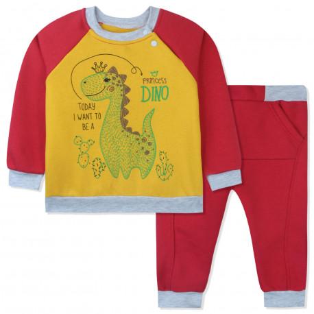 Утепленный костюм 2 в 1 для девочки, коралловый. Дино и кактусы.