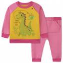 Утепленный костюм 2 в 1 для девочки, розовый. Дино и кактусы.