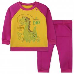 Утепленный костюм 2 в 1 для девочки, малиновый. Дино и кактусы.