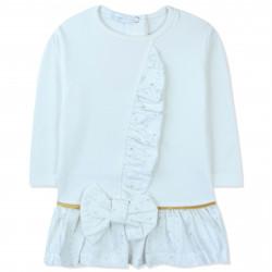 Платье с начесом для новорожденной девочки, белое. Рюша и бант.