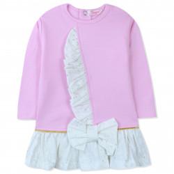 Платье с начесом для новорожденной девочки, розовое. Рюша и бант.