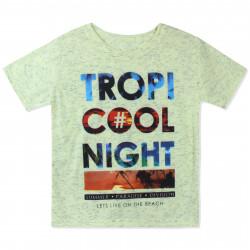 Футболка для мальчика, желтая. Тропическая ночь.