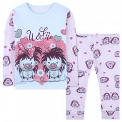 Пижама для девочки, розовая. Ёжики.