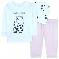 Комплект 4 в 1 для новорожденной девочки, белый. Панда и коровка.
