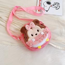 Сумка велюровая детская, сумка через плечо, розовая. Минни Маус.