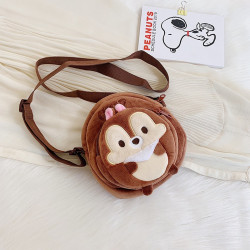 Сумка велюровая детская, сумка через плечо, коричневая. Бурундук Чип.