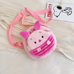 Сумка велюровая детская, сумка через плечо, розовая. Поросенок Пятачок.